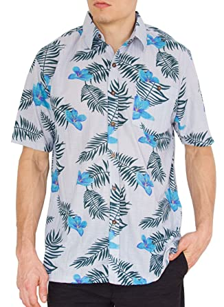 598107f1 Nob Hill Mens Hawaiian Shirt Casual Short Sleeve Button up Big Mens Shirts  Floral Palms M