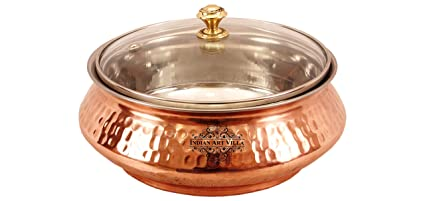 Indian Art Villa Steel Copper Handi Bowl With Glass Lid For Serving Dishes Tableware  sc 1 st  Amazon.in & Buy Indian Art Villa Steel Copper Handi Bowl With Glass Lid For ...