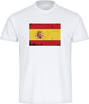 Multifanshop T-Shirt Cuello Redondo Camiseta de Manga Corta para Hombre Bandera España Retro Colour Blanco Tallas de la S a 3XL: Amazon.es: Deportes y aire libre