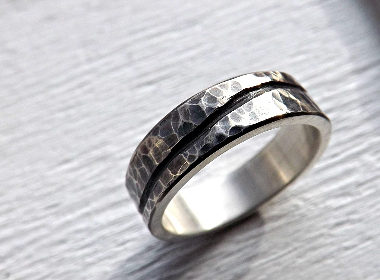 Amazon Rustic Wave Ring Silver Mens Wedding Band Organic Hammered Cool Engagement Men: Rustic Wedding Bands Men S At Reisefeber.org