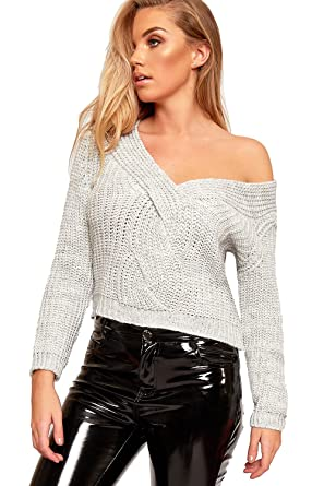 bd4ff098d34df WearAll Women's Long Sleeve Cable Knitted Ruched V-Neck Sweater Top ...