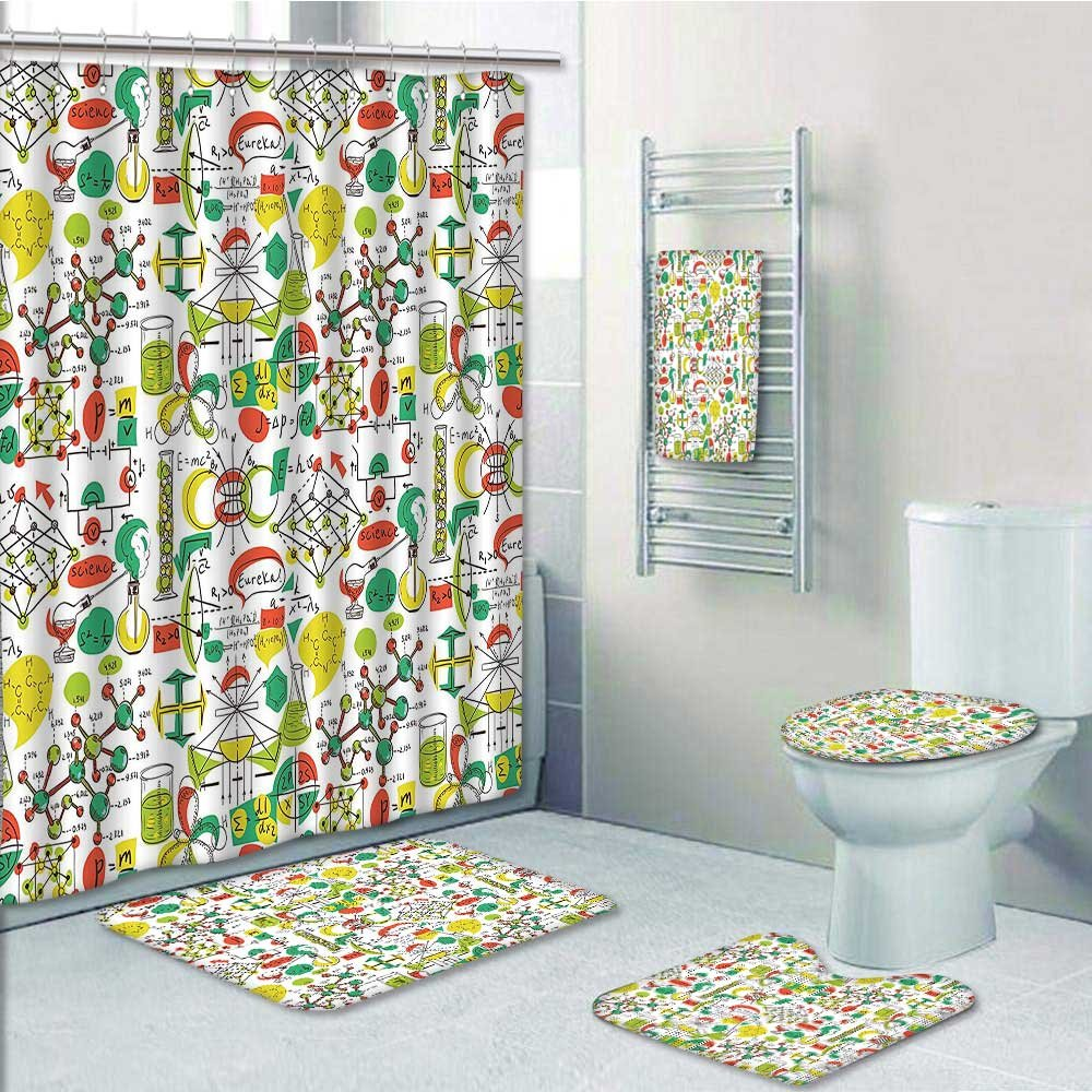 VROSELV Designer Bath Polyester 5-Piece Bathroom Set, Science Lab Objects Doodle Like Style Sketches Back To School Theme Print Print bathroom rugs shower curtain/rings and Both Towels(Medium size)