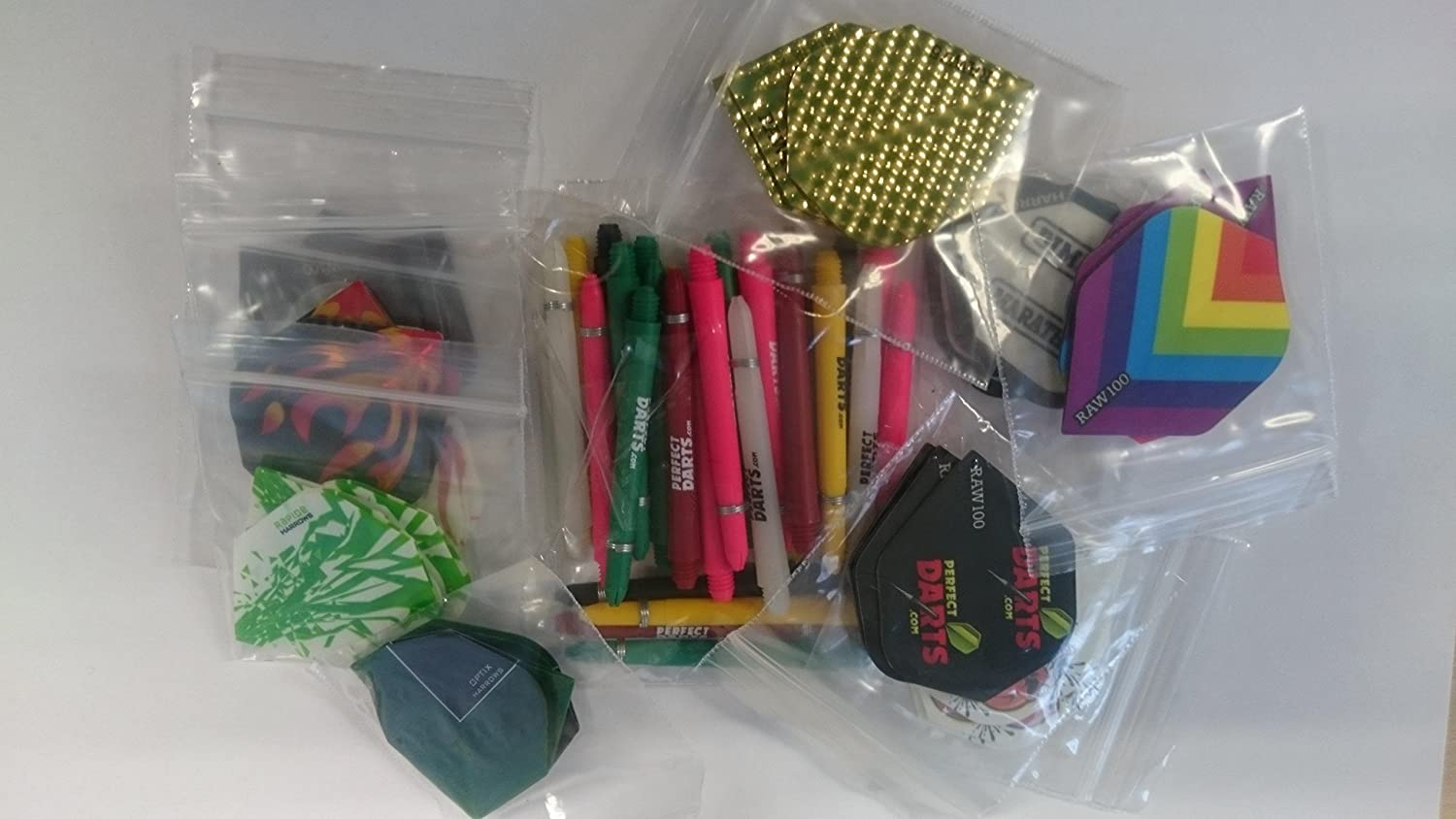 30 Assorted Standard Dart Flights + 30 Mixed Size Stems Variety of Makes AMAZING BARGAIN