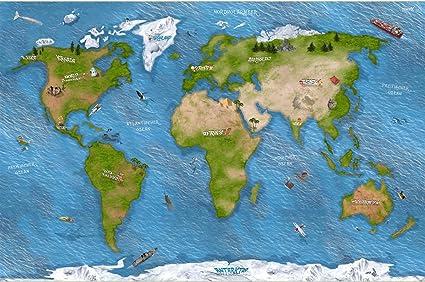 STIKKIPIX Mapa del Mundo Alfombra Infantil de Juego | SM15 Cuarto de los niños | Tamaño: 150 x 100 cm | Accesorios adecuados para Schleich, Papo, Bullyland, Playmobil etc: Amazon.es: Juguetes y juegos