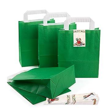 5 De Kleine oscuro verde bolsa de de papel para regalos (con ...