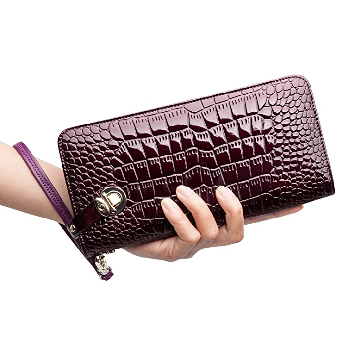 5c453b360fad ZOOLER GLOBAL Women's Genuine Leather Clutch Wallets Wristlet Organizer  Purse with Large Space Card Hold Zipper Pocket Red
