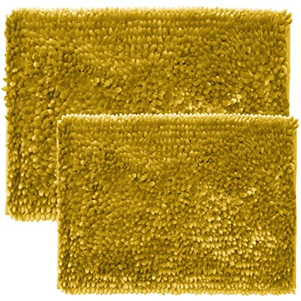 Amazoncom Sweet Home Collection Chenille Noodle Piece Bathroom - Gold bathroom rug sets