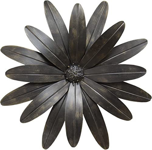 Stratton Home Decor S07701 Industrial Flower Wall Decor, 18.00 W x 1.25 D x 18.00 H, Black