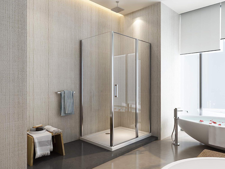 Laneri - Mampara de ducha de dos lados con apertura batiente fija ...