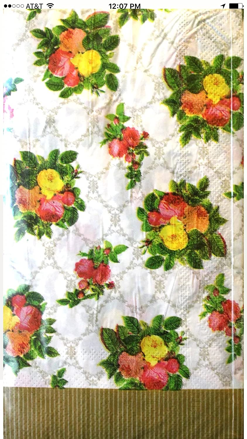 Amazon.com: Victorian Roses Paper Napkins,red/pink/yellow Roses,gold Trim,40x,triple-ply,guest Towel Size-13