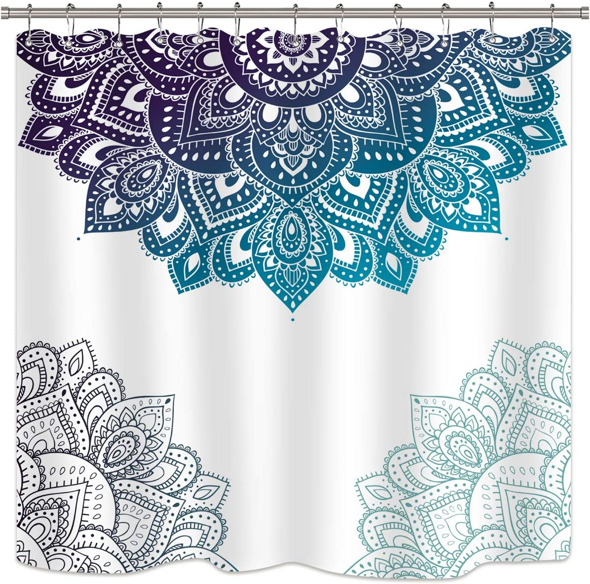 Riyidecor Henna Mandala Shower Curtain Boho Paisley India Bohemia Ombre Blue Flower Bathroom Decor Fabric for Bathtub 72Wx72H Inch 12 Pack Plastic Shower Hooks Included