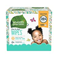 Seventh Generation Baby Wipes, Free & Clear Unscented and Sensitive, Gentle as Water, with Flip Top Dispenser, 384 count