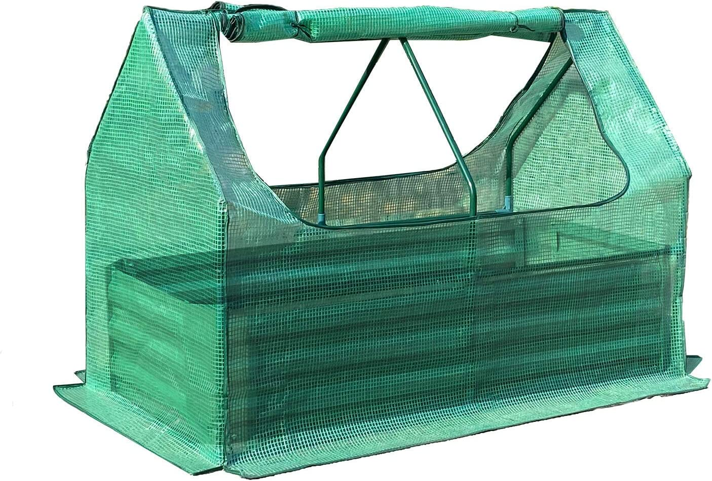 Aoodor 4 ft. x 2 ft. x 3ft. Raised Garden Bed Galvanized Steel Metal Planter w/ Mini Greenhouse Water Resistant UV Protected - Two Zipper Doors