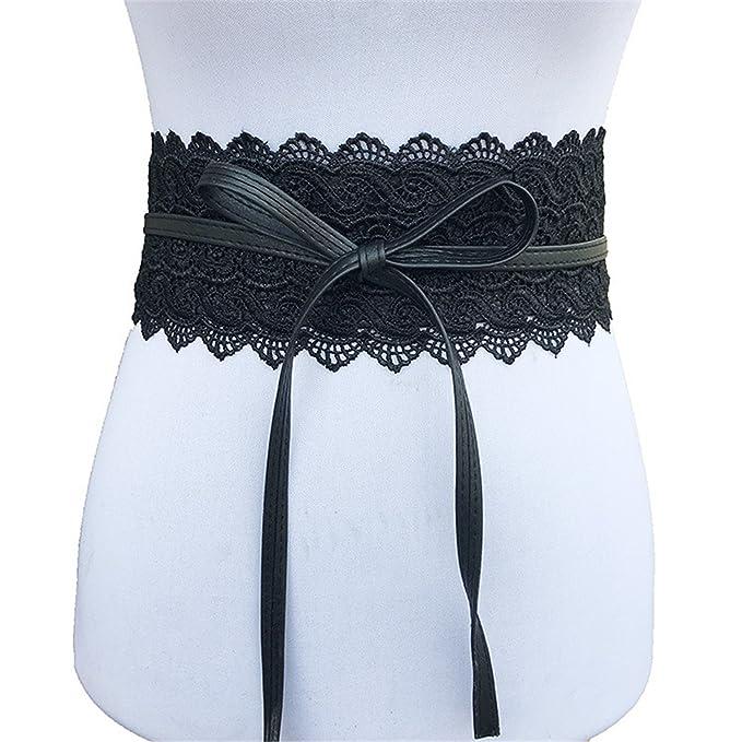 New Black White Wide Corset Lace Belt Female Self Tie Obi Cinch