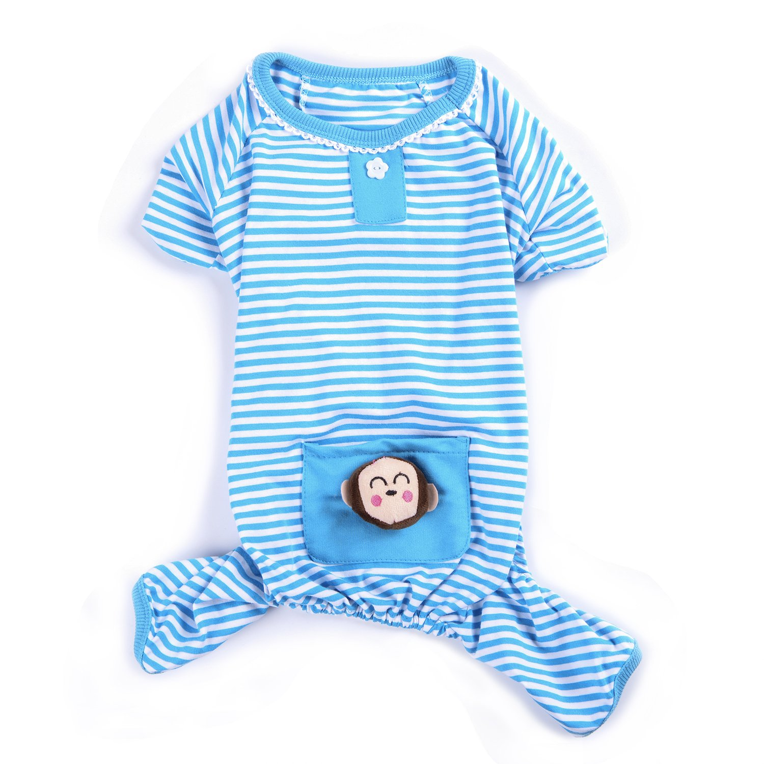 Woo Woo Pets Cute Animal Dog Cozy Pajams Dog Stripes Jumpsuit Pet Dog Clothes Sky Blue L