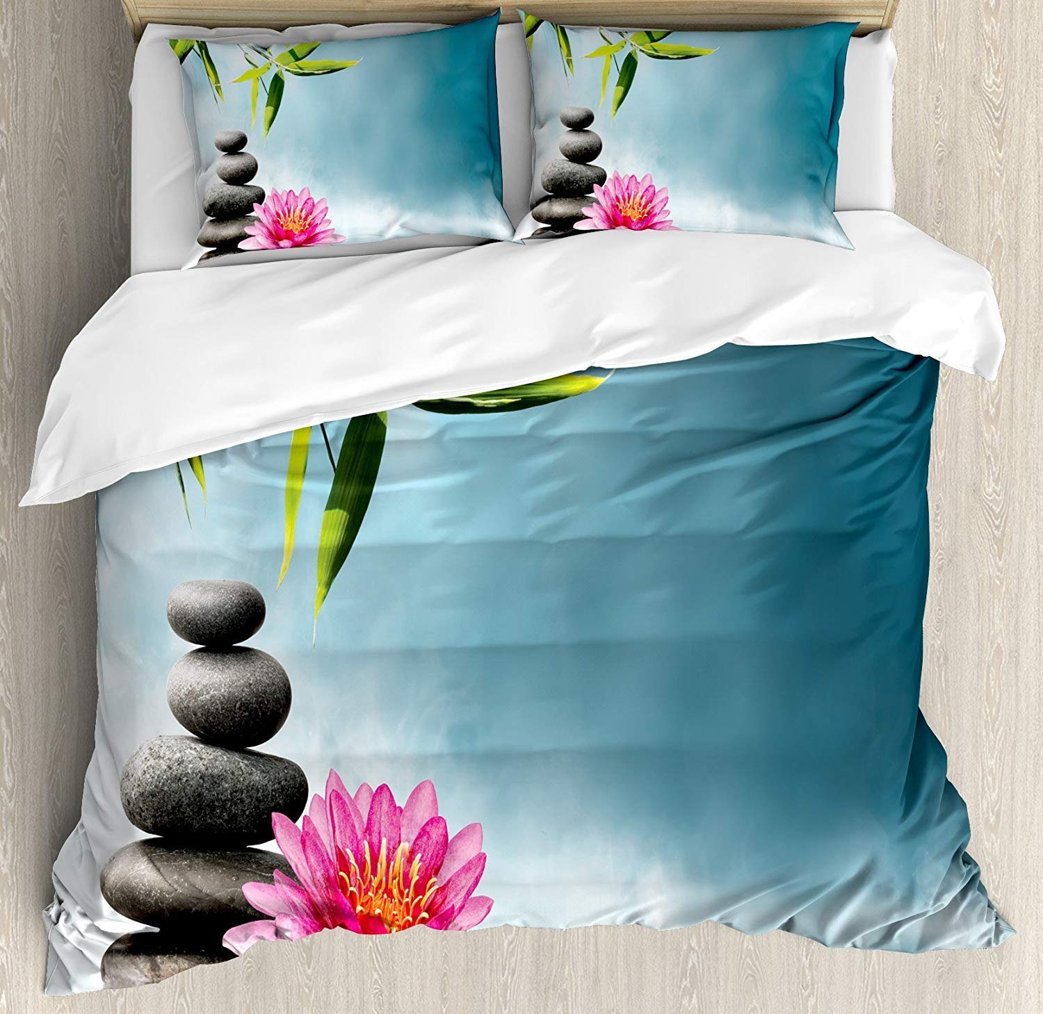 WomenFoucs Spa Twin Bedding Comforter Sets All-Season 4pc Duvet Cover Set Quilt Bedspread for Adult/Kids/Teens, Spa Theme with Lily Lotus Flower and Rocks Yoga Style Purifying Your Soul Theme