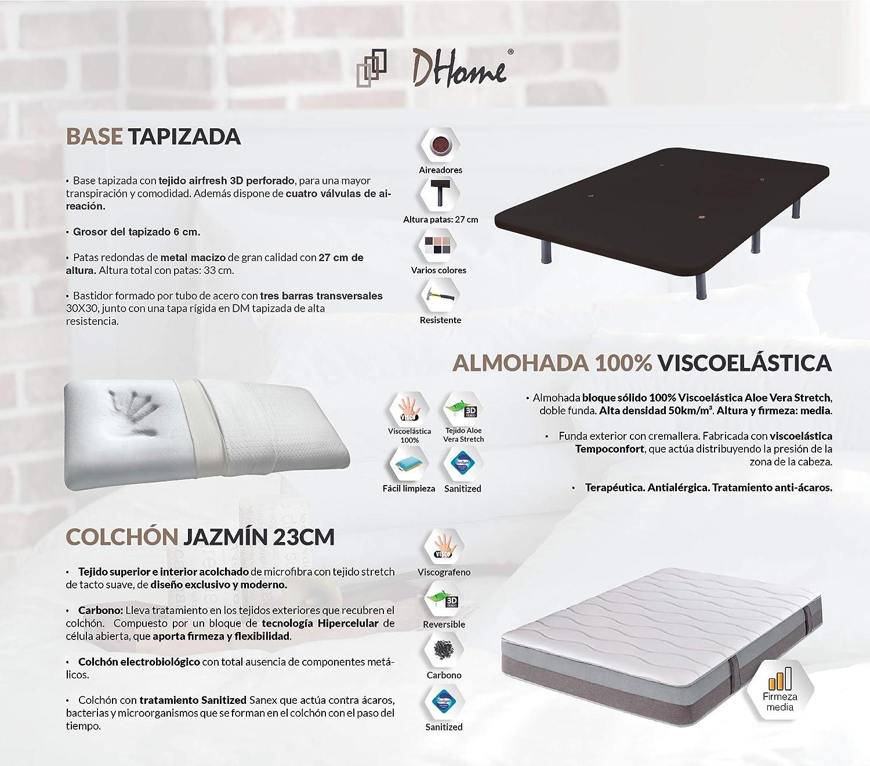 DHOME Base Tapizada 3D Reforzada Acero + 4 o 6 Patas con Patas 27cm Bases tapizadas (150x190 Chocolate, Base Tapizada + Colchón + Almohada)