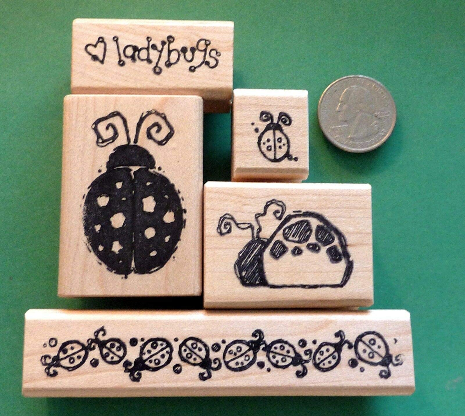 Ladybug Lover's Rubber Stamp Set of 5, Wood Mounted - Rubber Stamp Wood Carving Blocks by Wooden Stamps