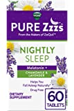 ZzzQuil Pure Zzzs Nightly Sleep Melatonin Tablets, 60 ct, with Chamomile, Lavender, & Valerian Root, 1 mg per tablet…