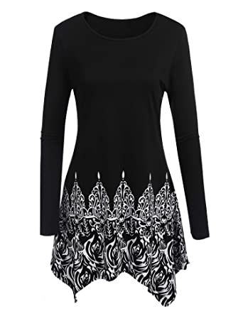 482cb91d5f6 ELESOL Women Printed Tunic Pullover Tops Long Sleeve Blouse Shirts Black S