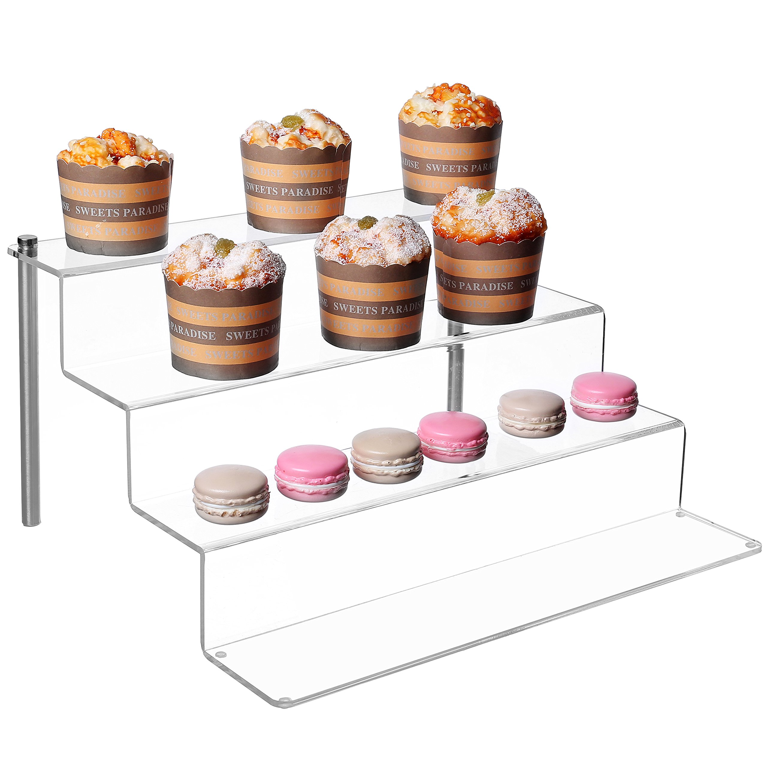 12-Inch W by 11.5-Inch D Clear Acrylic Shelf & Metal Cupcake Stand / 4-Tier Display Riser Rack