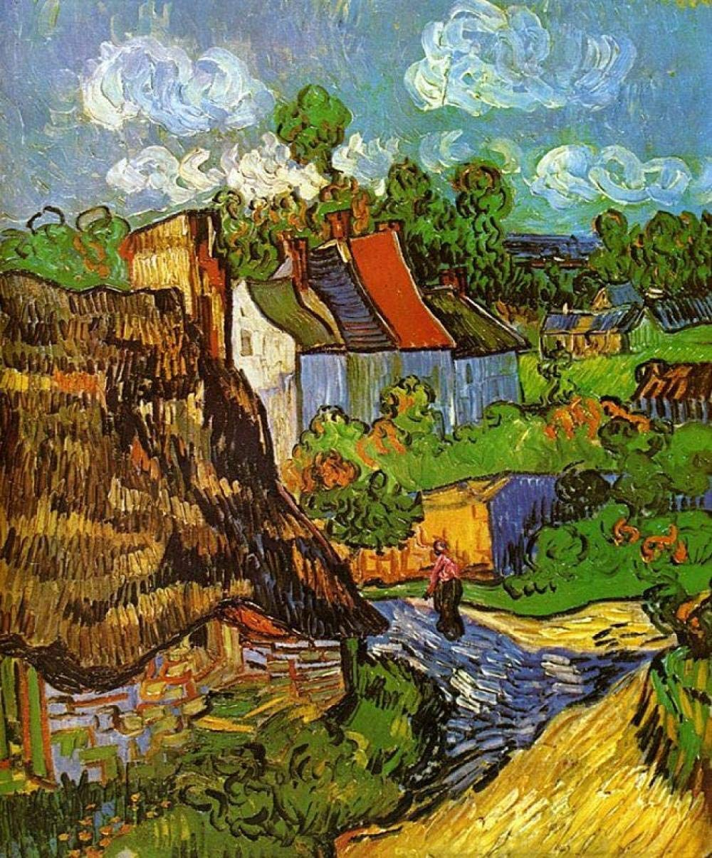 EJCNCL Pintar por Numeros para Adultos Ni/ñOs 40x50cm Casa Van Goghs Adultos F/ácil de Operar Principiantes Dibujados A Mano Dormitorio Sal/óN Decoracion