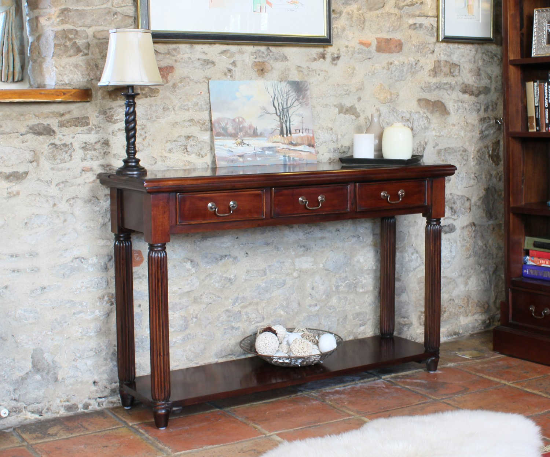La Roque Mahagoni dunkel furniture Konsolentisch mit Schubladen
