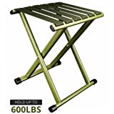Portable Folding Stool, Super Strong Heavy Duty Outdoor Folding Chair Hold up to 600 lbs 1 Pack