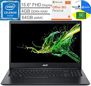 "Acer Aspire 1 15.6"" FHD Laptop Computer, Intel Celeron N4020 up to 2.8GHz, 4GB DDR4 RAM, 64GB eMMC, Webcam, Microsoft 365 Personal, Windows 10 S, BROAGE Mouse Pad + 32GB SD Card, Online Class Ready"