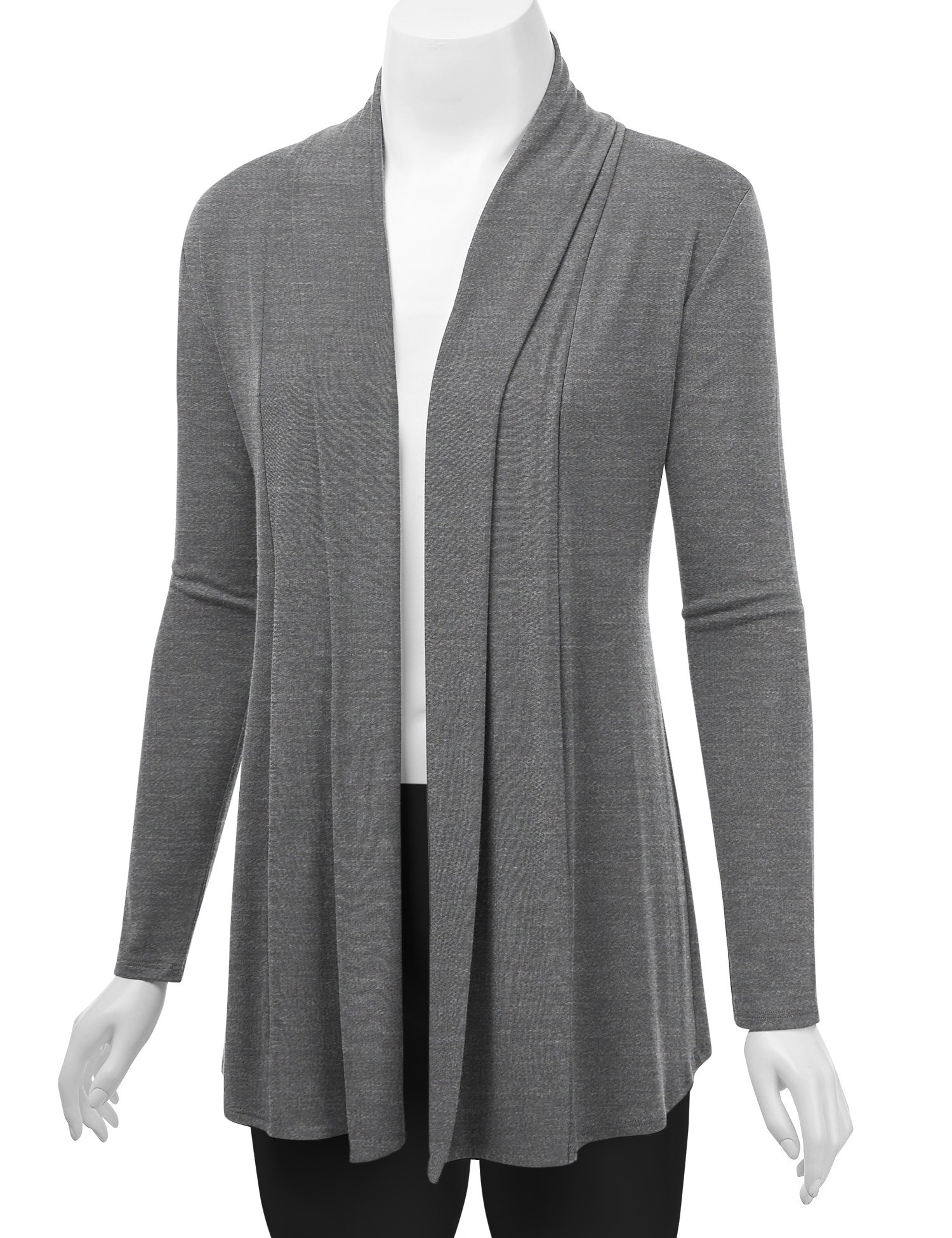 Lock and Love WSK1301 Womens Open Draped Knit Shawl Cardigan M Heather_Dark_Grey by Lock and Love (Image #5)