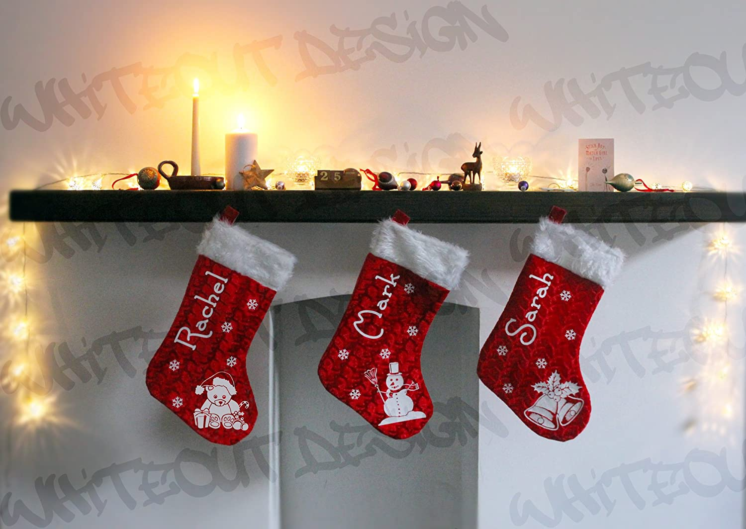 christmas stocking custom printed with your name and festive teddy bear design amazoncouk kitchen u0026 home