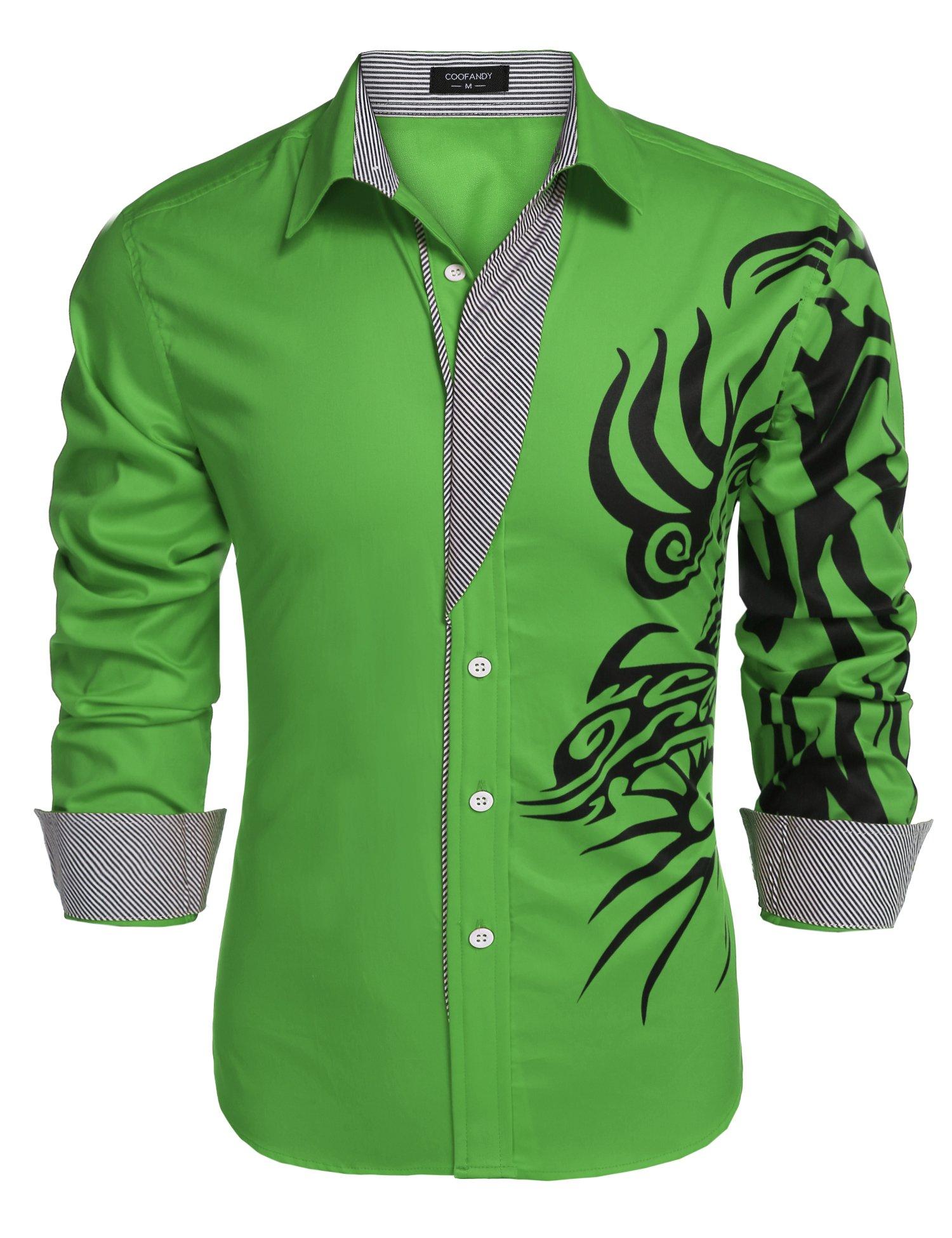 COOFANDY Men's Print Button Down Dress Shirt