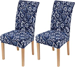 smiry 2 Pack Printed Dining Chair Covers, Stretch Spandex Removable Washable Dining Chair Protector Slipcovers for Home, Kitchen, Party, Restaurant (Navy)