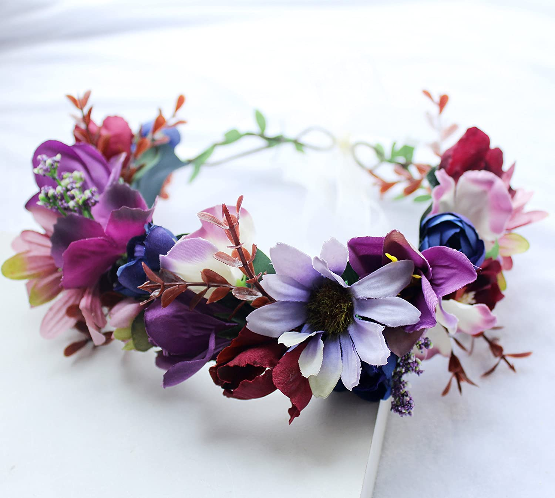 Brikuinr Floral Crown Headband Flower Garland Headband Hair Wreath Flower Halo Floral Headpiece Boho