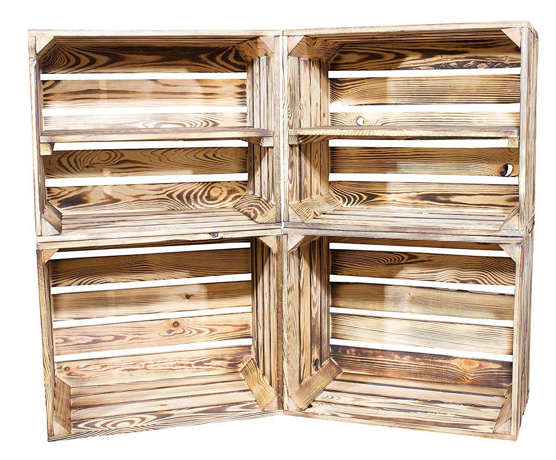 Vinterior DIY Set (4 Kisten) Gemischtes Paket Flambierte Holzkisten-Weinkisten Regal aus geflammten Obstkisten mit Zwischenboden