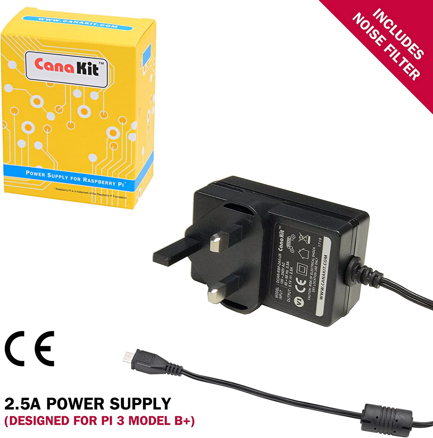 B Plus CanaKit Raspberry Pi 3 B+ with Premium Clear Case and 2.5A Power Supply