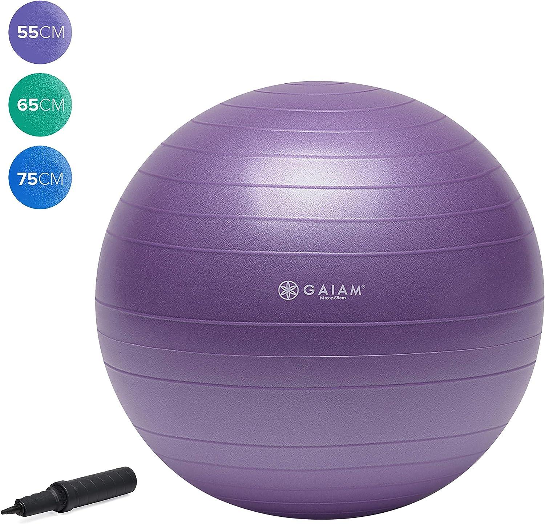 Gaiam Total Body Balance Ball Kit - Includes Anti-Burst Stability Exercise Yoga Ball, Air Pump, Workout Program