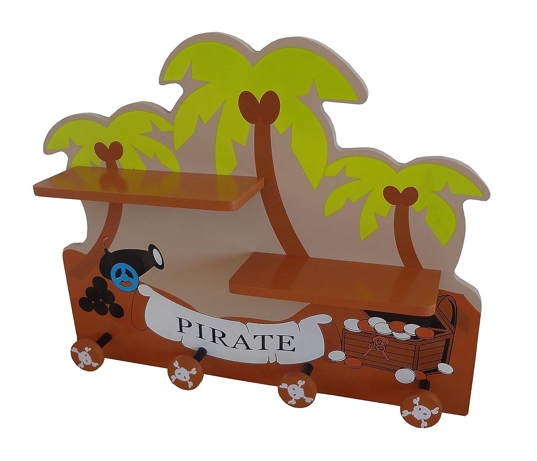 Bebe Style - Mensola e appendiabiti da parete, in legno, per bambini, motivo: pirata PRF1CH