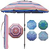 Blissun 7.2' Portable Beach Umbrella with Sand Anchor, Tilt Pole, Carry Bag, Air Vent (Orange)