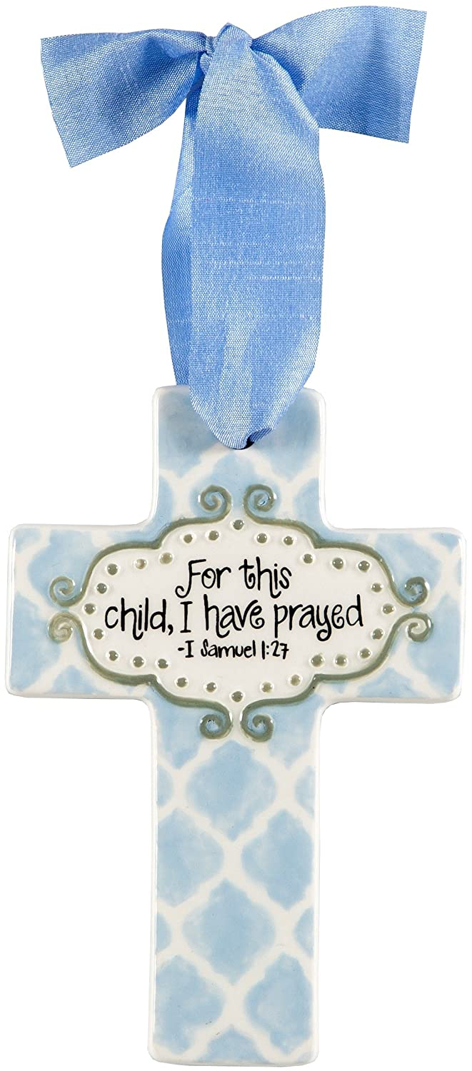 Cross Ornament For this child, I have prayed – I Samuel 1 27 Baby Boy Blue