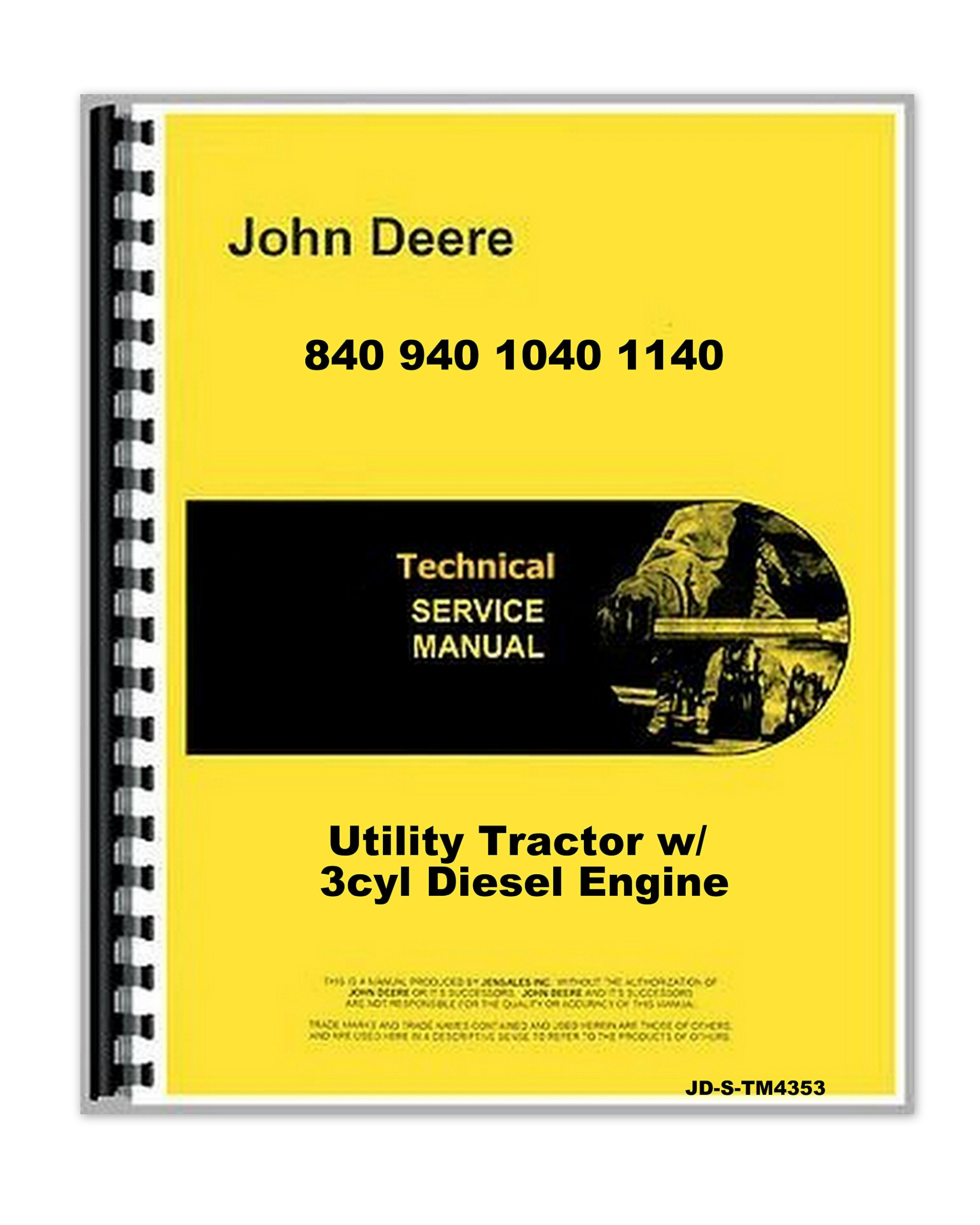 Amazon.com: John Deere 840 940 1040 1140 Tractor Service Technical Manual  (0739718153998): Books