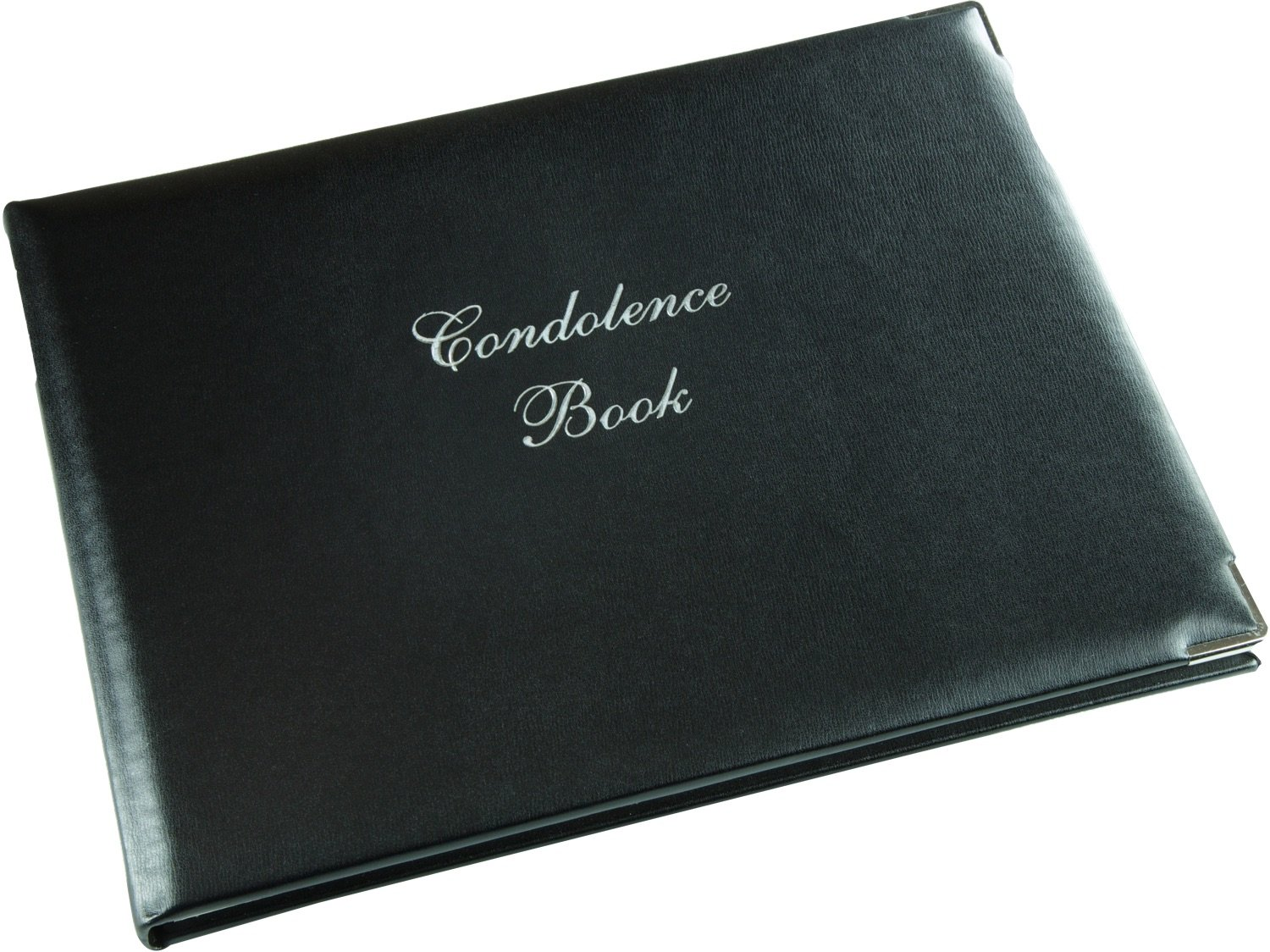 Condolence Book with Silver Corners - Black - Funeral Guest Book - Memorial Book - Presentation Boxed - (LARGE SIZE - Width 10.5 inch - Height 7.6 inch - Depth 0.6 inch)