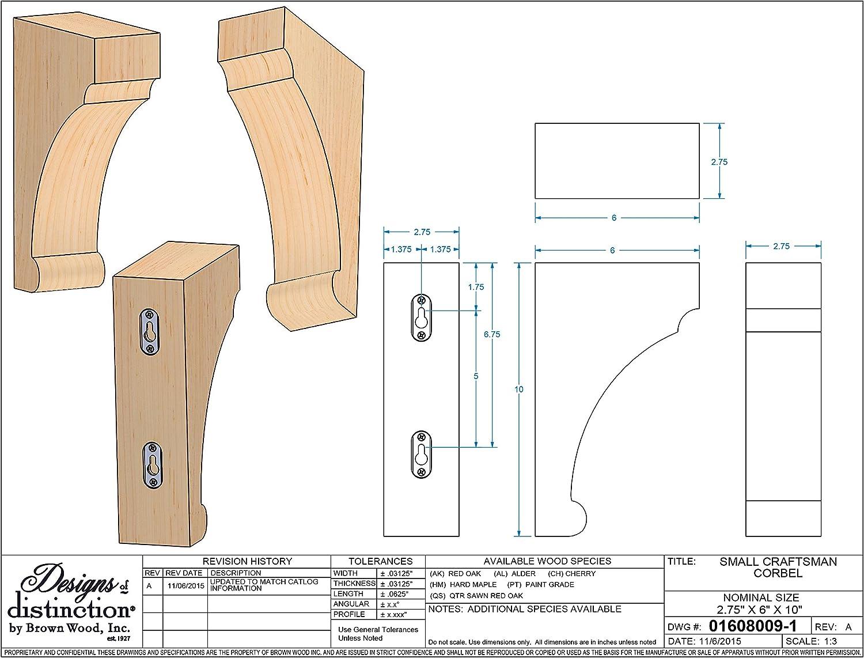01608009AK1 Full Craftsman Wood Corbel Red Oak Brown Wood Inc