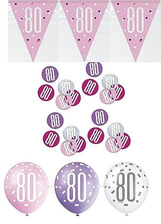 Unique bpwfa-4182 Glitz 80th cumpleaños Foil Banner Kit de ...