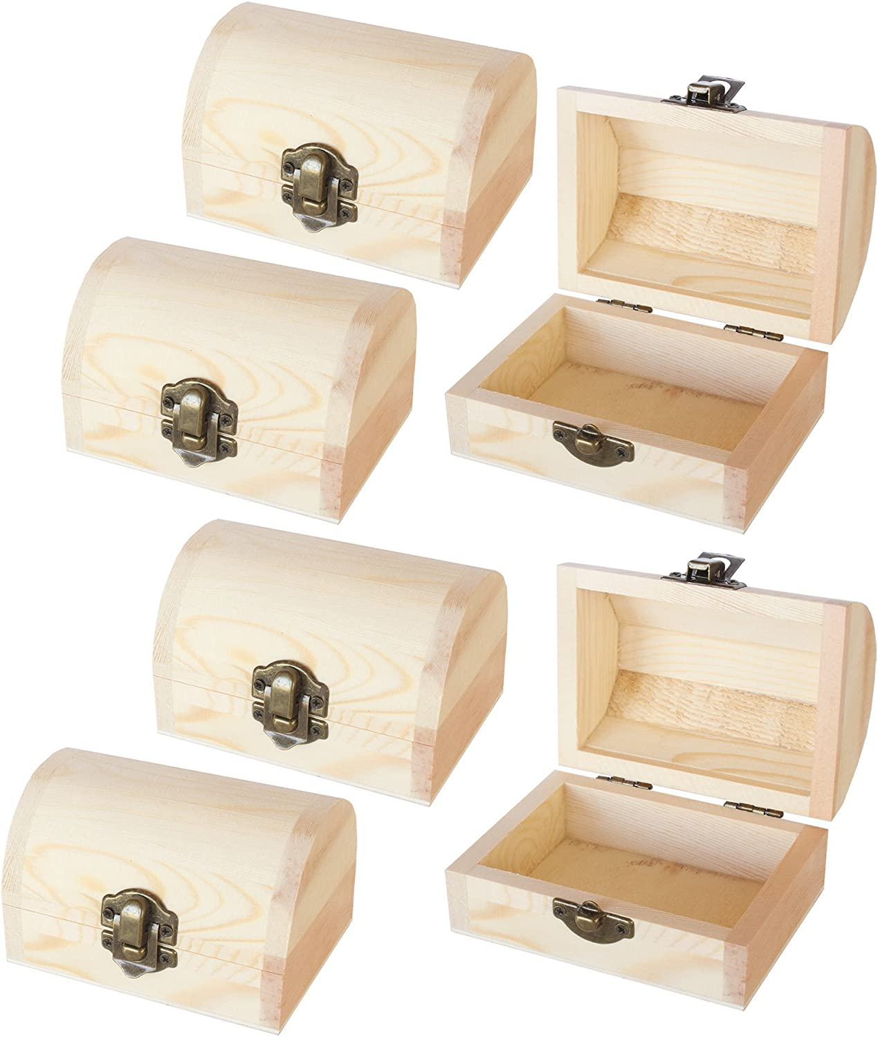 Unfinished Wooden Treasure Chest (2.76 x 3.9 x 2.36 Inches, 6-Pack)