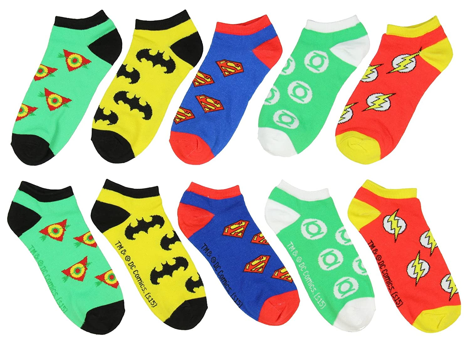 DC Comics Superhero Logos 5 Pair Ankle Socks Bioworld