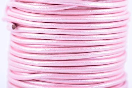 11 yards Lilac Metallic Round Leather Cord 1 mm 10 meters