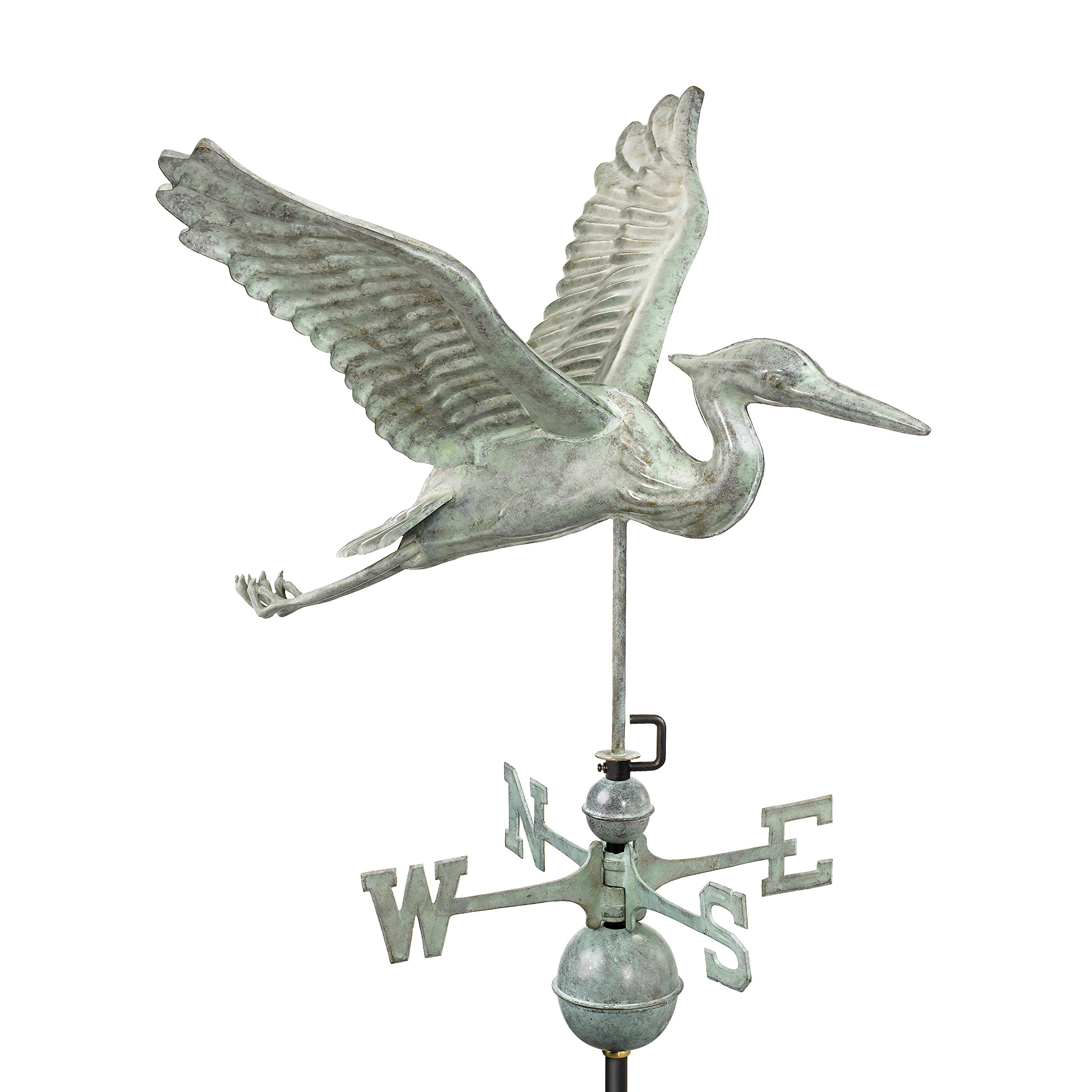 Good Directions Blue Heron Weathervane, Blue Verde Copper, Patina by Good Directions