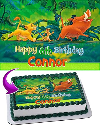 The Lion King Simba Timon And Pumbaa Edible Cake Topper Personalized
