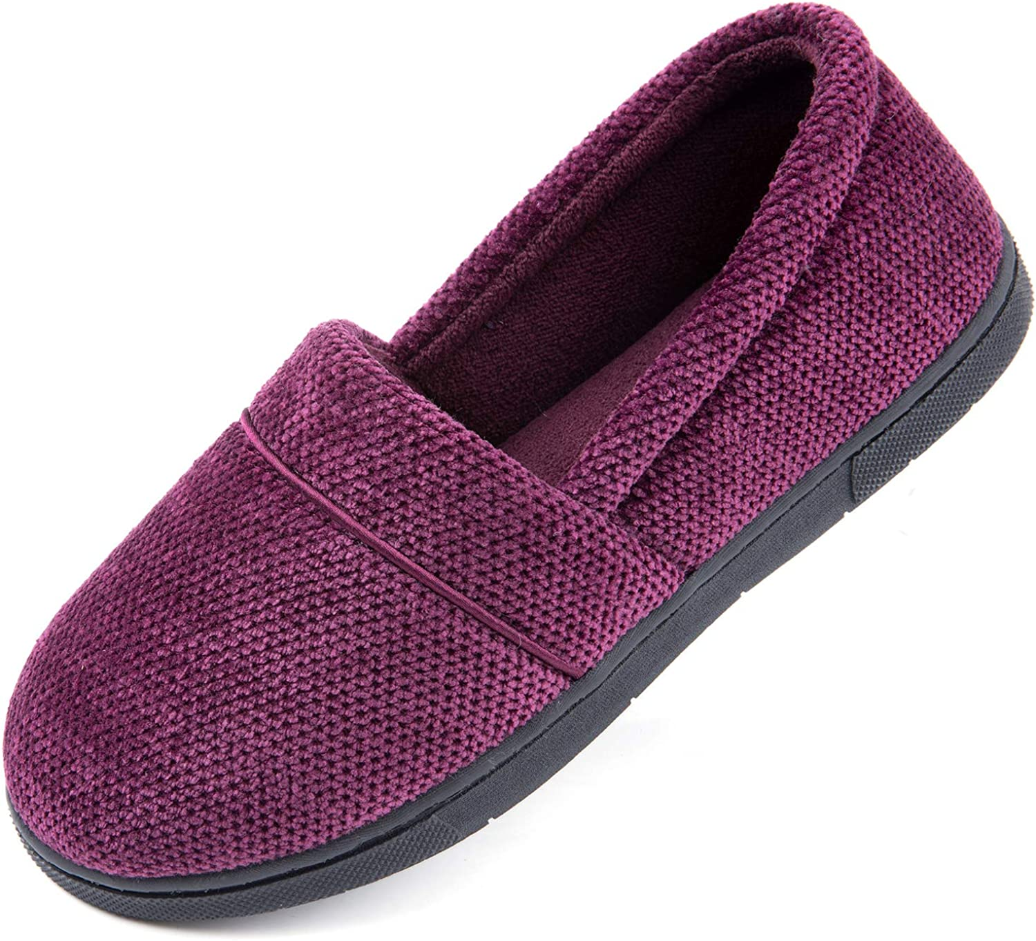 ULTRAIDEAS Women's Cozy Memory Foam Slipper, Lightweight Chenille House Shoes with Indoor Anti-Skid Rubber Sole